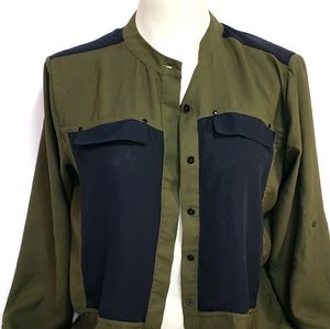 Kenneth Cole Green & Black Button Up Blouse
